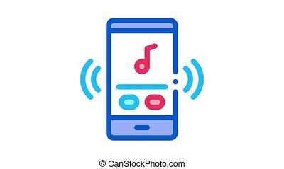 audio, téléphone, musique, animation, icône, joueur