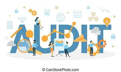 audit, concept, animation