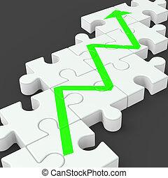augmenté, profit, puzzle, ligne, investissement, spectacles