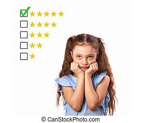 augmentation, tension, vote, étoile, évaluation, business, classer, pensée, isolé, jaune, haut, rewiew., cinq, classement, fond, ligne, girl, regarder, blanc, mieux, gosse