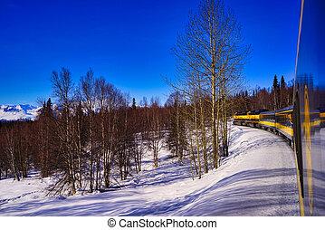 aurore, train, snow., courant, alaska