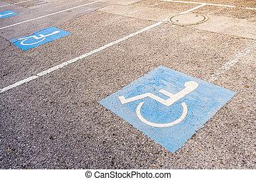 aussi, connu, fond, stationnement, trottoir, signe, handicapé, rue, handicap, permis, fauteuil roulant peint