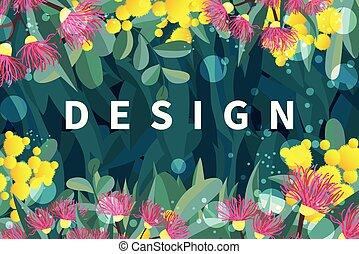 austalia, feuilles, exotique, vecteur, conception, fleurs