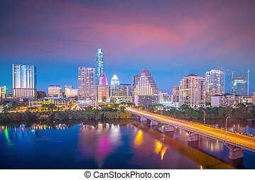 austin, texas, en ville, sommet, horizon, usa, vue