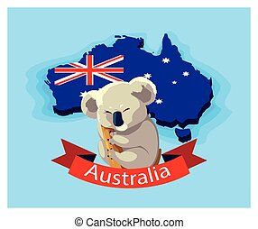 australie, animal, australien, koala, carte
