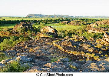 australie, art, nord, national, site, ubirr, park., lookout., territoire, kakadu
