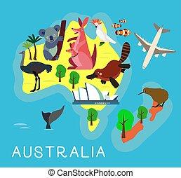 australie, illustration., map., enfants, vecteur, animal, dessin animé, kids.