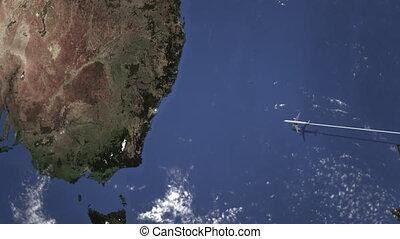 australie, parcours, voler, commercial, carte, avion, sydney, animation, 3d