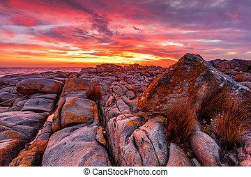 australie, riche, côte, levers de soleil, sur, rouges, rocheux