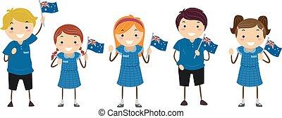 australien, gosses, drapeau, stickman, uniforme, étudiants