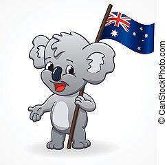 australien, mignon, heureux, tenue, koala, sourire, vecteur, drapeau