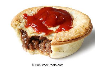 australien, sauce, tarte viande