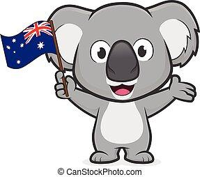 australien, tenant pavillon, koala
