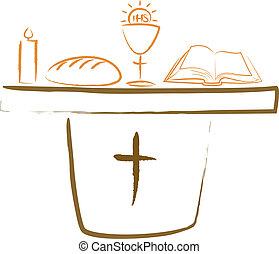 autel, religiou, -, saint, communion