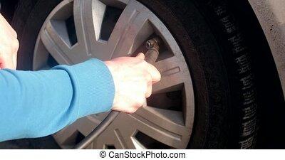 auto, pneu, remplissage, entretien, véhicule, air, voiture