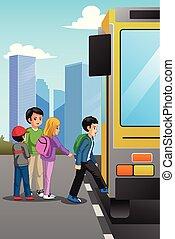 autobus, école, arrêt, enfants, illustration