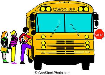 autobus école, gosses