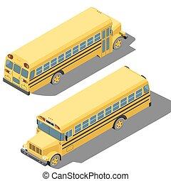 autobus école, isométrique, illustration, isolé, arrière-plan., vecteur, blanc