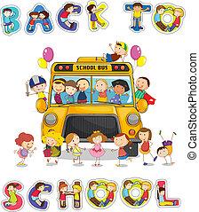 autobus, école, mot, dos, anglaise