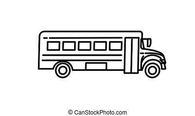 autobus, alpha, icône, ligne, école, canal