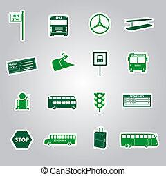 autobus, autocollants, eps10, transport
