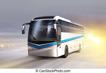 autobus, blanc, glace, route