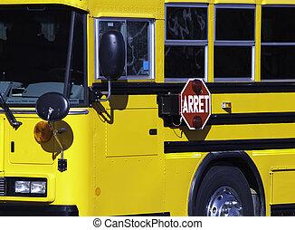 autobus, garé, école