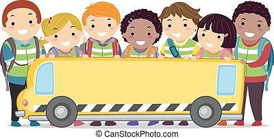 autobus, gosses école, bannière, stickman