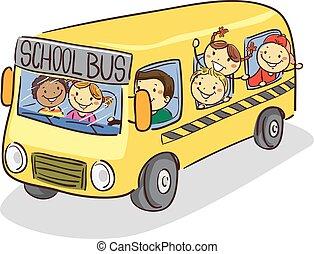 autobus, gosses école, crosse