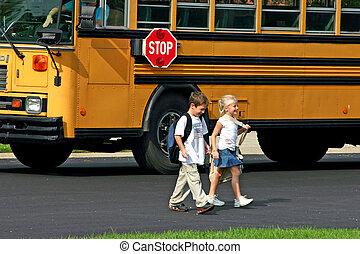 autobus, gosses, fermé, obtenir