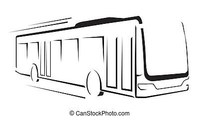 autobus, illustration, symbole, vecteur