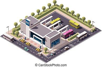 autobus, isométrique, vecteur, station