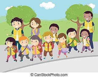 autobus, marche, gosses, stickman