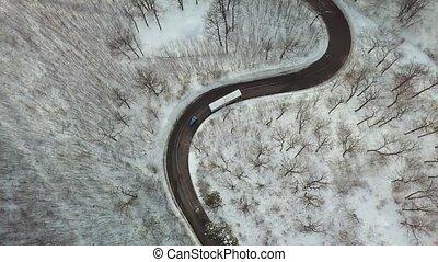 autobus, neigeux, route, montagne
