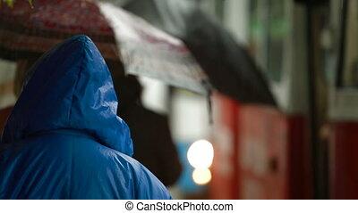 autobus, pluvieux, arrêt, gens
