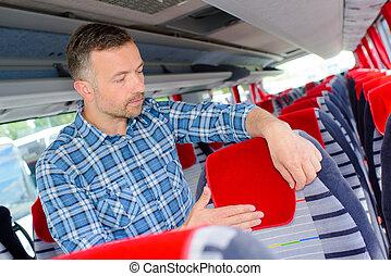autobus, préparer, cabine