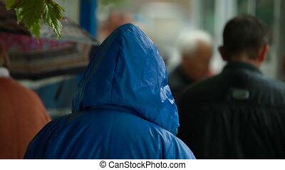 autobus, sous, arrêt, pluie, gens