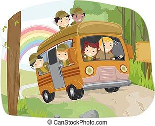 autobus, stickman, camping, gosses, sauvage