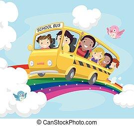 autobus, stickman, gosses, école, arc-en-ciel