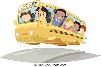 autobus, stickman, gosses, illustration, futuriste