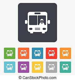 autobus, symbole., signe, icon., transport commun