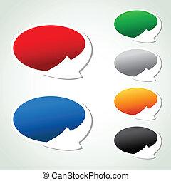autocollant, étiquettes, -, vecteur, indicateur, flèche, ovale