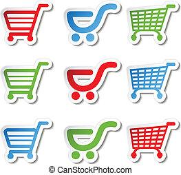 autocollant, achats, bouton, chariot, article, charrette