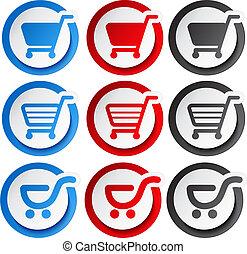 autocollant, achats, bouton, chariot, vecteur, article, charrette