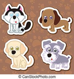 autocollant, chien, set., dessin animé