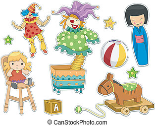 autocollant, conception, jouets