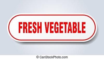 autocollant, isolé, button., frais, signe., arrondi, blanc, légume