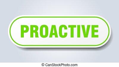 autocollant, isolé, button., signe., arrondi, proactive, blanc