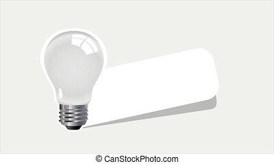 autocollant, lampe, idée, signe, rappel, isolé, white.