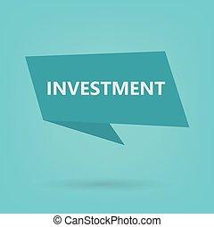 autocollant, mot, investissement